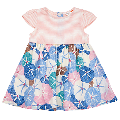 Product photo of John lewis baby half stripe floral woven dress multi