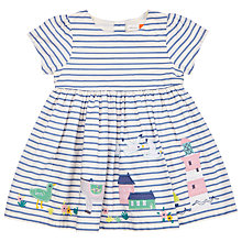 Buy John Lewis Baby Striped Border Dress, Blue Online at johnlewis.com