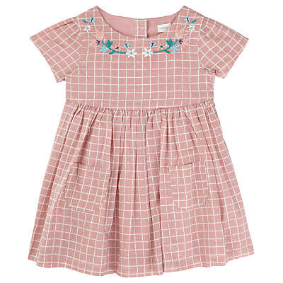 Product photo of John lewis baby grid check dress pink