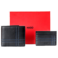 Buy BOSS Decorative Stitching Wallet and Card Holder Gift Set, Black Online at johnlewis.com