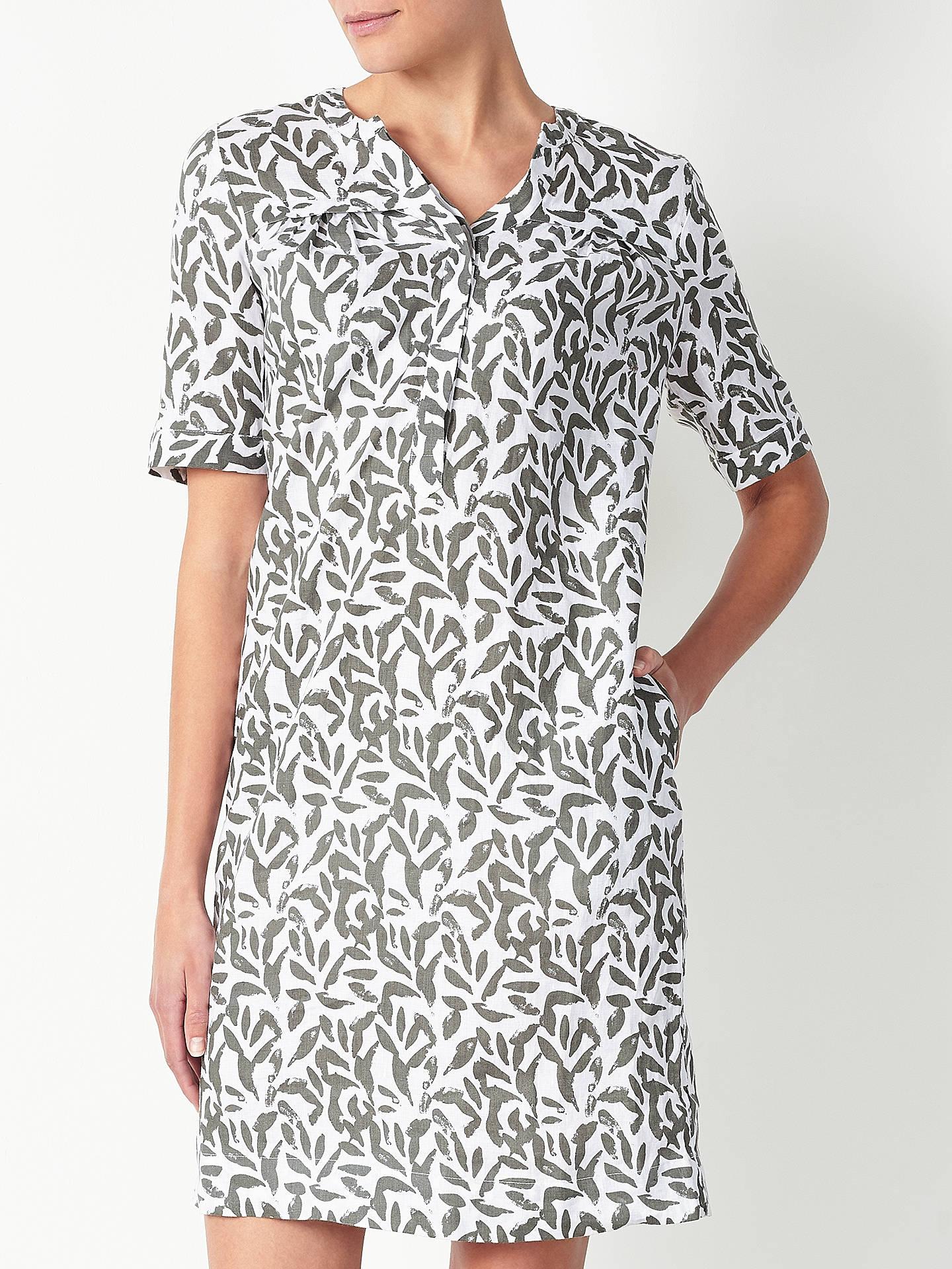 acc612d498 ... Buy John Lewis Leaf Print Linen Notch Neck Dress
