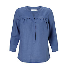 Buy John Lewis Sandra Gathered Front Linen Blouse, Denim Blue Online at johnlewis.com