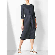Buy John Lewis Collarless Shirt Dress, Navy Online at johnlewis.com