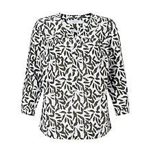 Buy John Lewis Sandra Printed Linen Blouse, Khaki/White Online at johnlewis.com