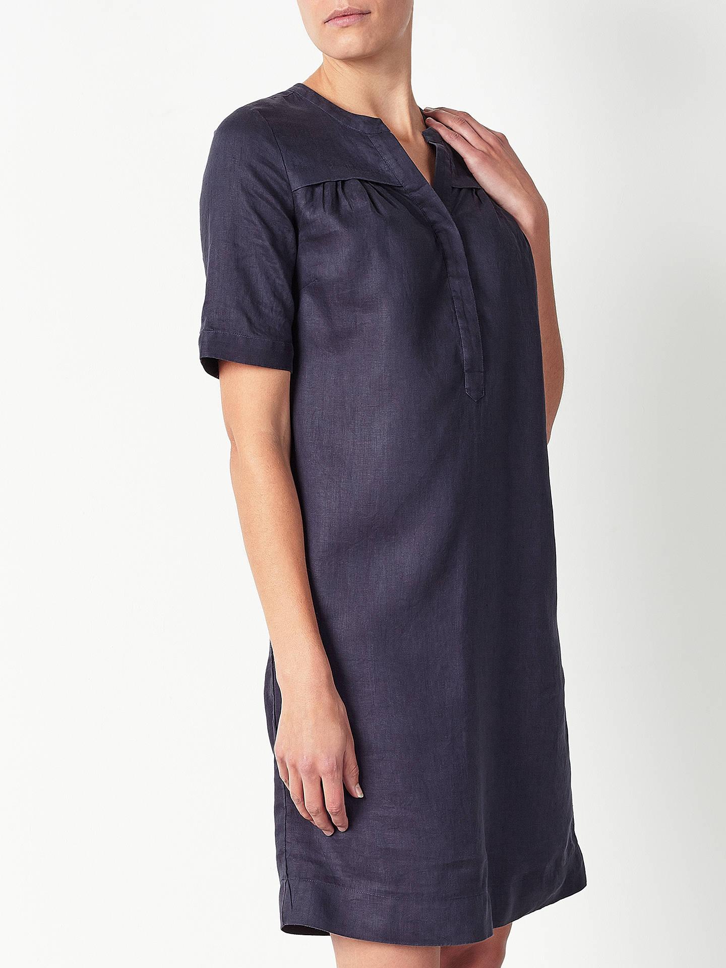 4a280eb18b Buy John Lewis Linen Notch Neck Dress, Navy, 8 Online at johnlewis.com ...