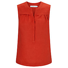 Buy John Lewis Linen Notch Neck Top, Chilli Online at johnlewis.com
