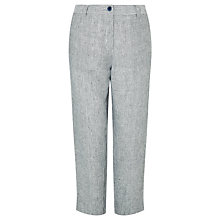 Buy John Lewis Linen Cross Dye Peg Trousers, Navy/White Online at johnlewis.com