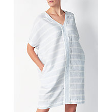 Buy John Lewis Short Sleeve V-Neck Linen Dress, Pale Blue/White Online at johnlewis.com