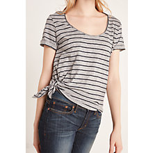 Buy AND/OR Striped Side Tie T-Shirt, Grey/Black Online at johnlewis.com