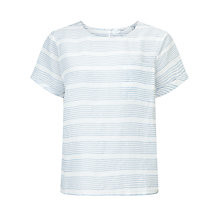 Buy John Lewis Linen Stripe T-Shirt, Pale Blue/White Online at johnlewis.com