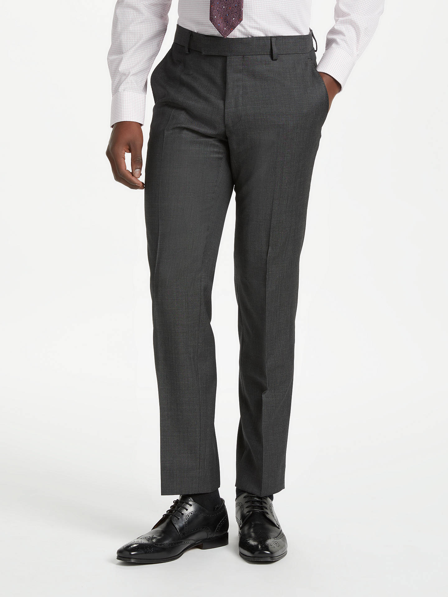 BuyRichard James Mayfair Wool Pindot Slim Fit Suit Trousers, Charcoal, 32S Online at johnlewis.com