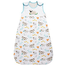 Buy John Lewis Farmyard Sleep Bag, 1 Tog, White/Multi Online at johnlewis.com