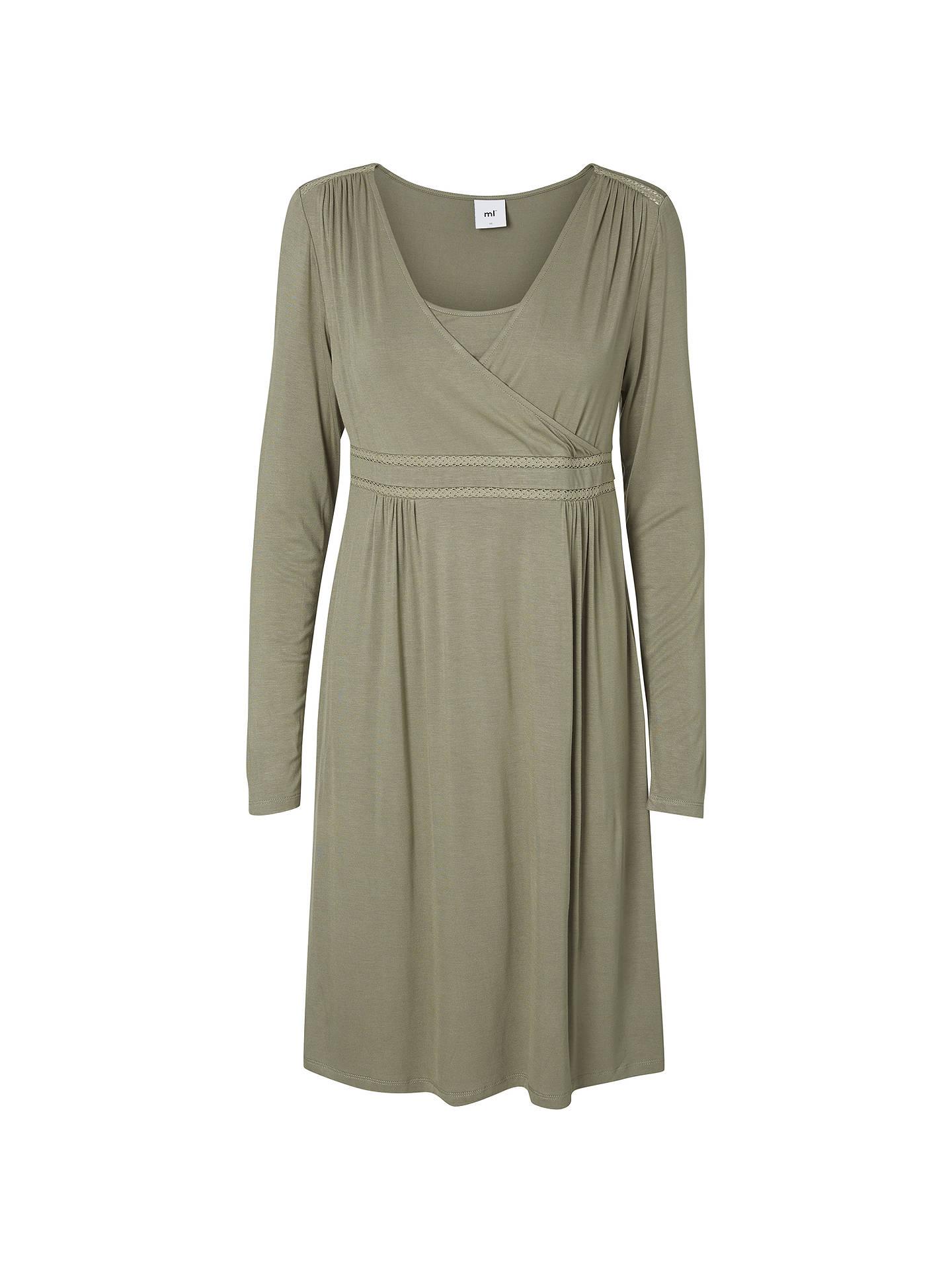 069e851ce87eb Buy Mamalicious Rikko Tess Maternity Nursing Dress, Vetiver Green, S Online  at johnlewis.