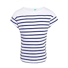 Buy John Lewis Girls' Placement Stripe T-Shirt, White/Navy Online at johnlewis.com