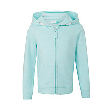 Buy John Lewis Girls' Hooded Marl Zip Through Hoodie, Aqua Online at johnlewis.com