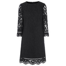 Buy Warehouse Bonded Lace Long Sleeve Dress, Black Online at johnlewis.com