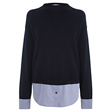 Buy Warehouse Split Back Hybrid Jumper, Navy Online at johnlewis.com