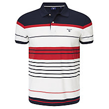 Buy Gant Multistripe Pique Polo Top, Clear Red Online at johnlewis.com
