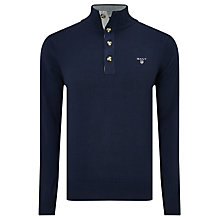 Buy Gant Cotton Sporty Mock Neck Jumper, Blue Online at johnlewis.com