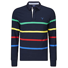 Buy Gant Multi Stripe Rugger Rugby Top, Thunder Blue Online at johnlewis.com