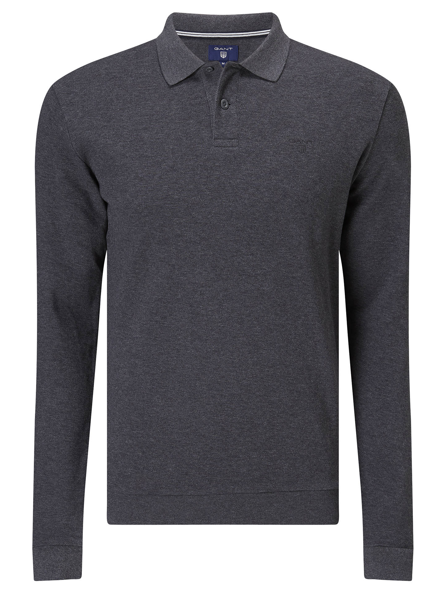 304e6c21356 Buy Gant Smart Long Sleeve Polo Top, Charcoal, S Online at johnlewis.com ...