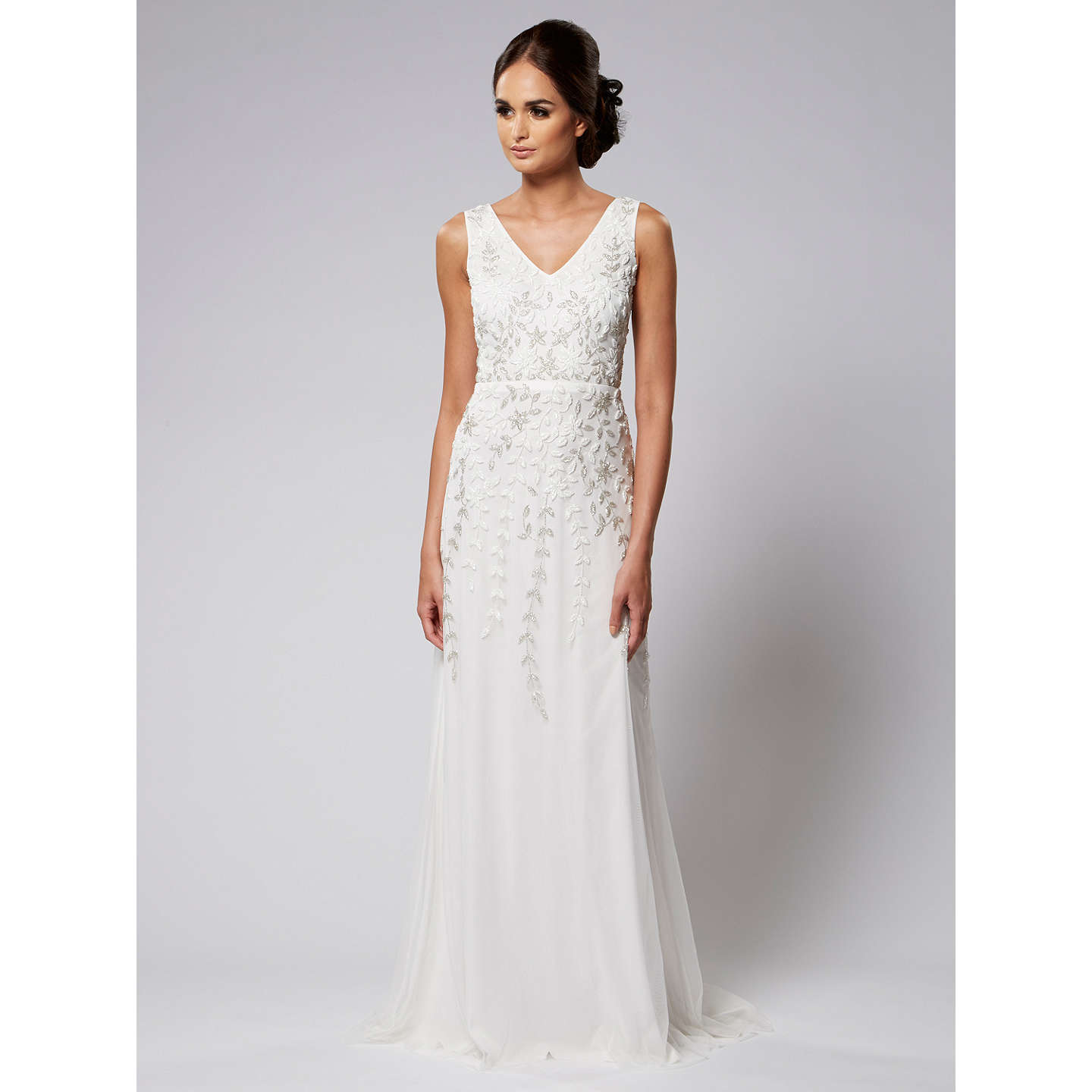 Raishma Floral Embroidered Bridal Gown, White At John Lewis