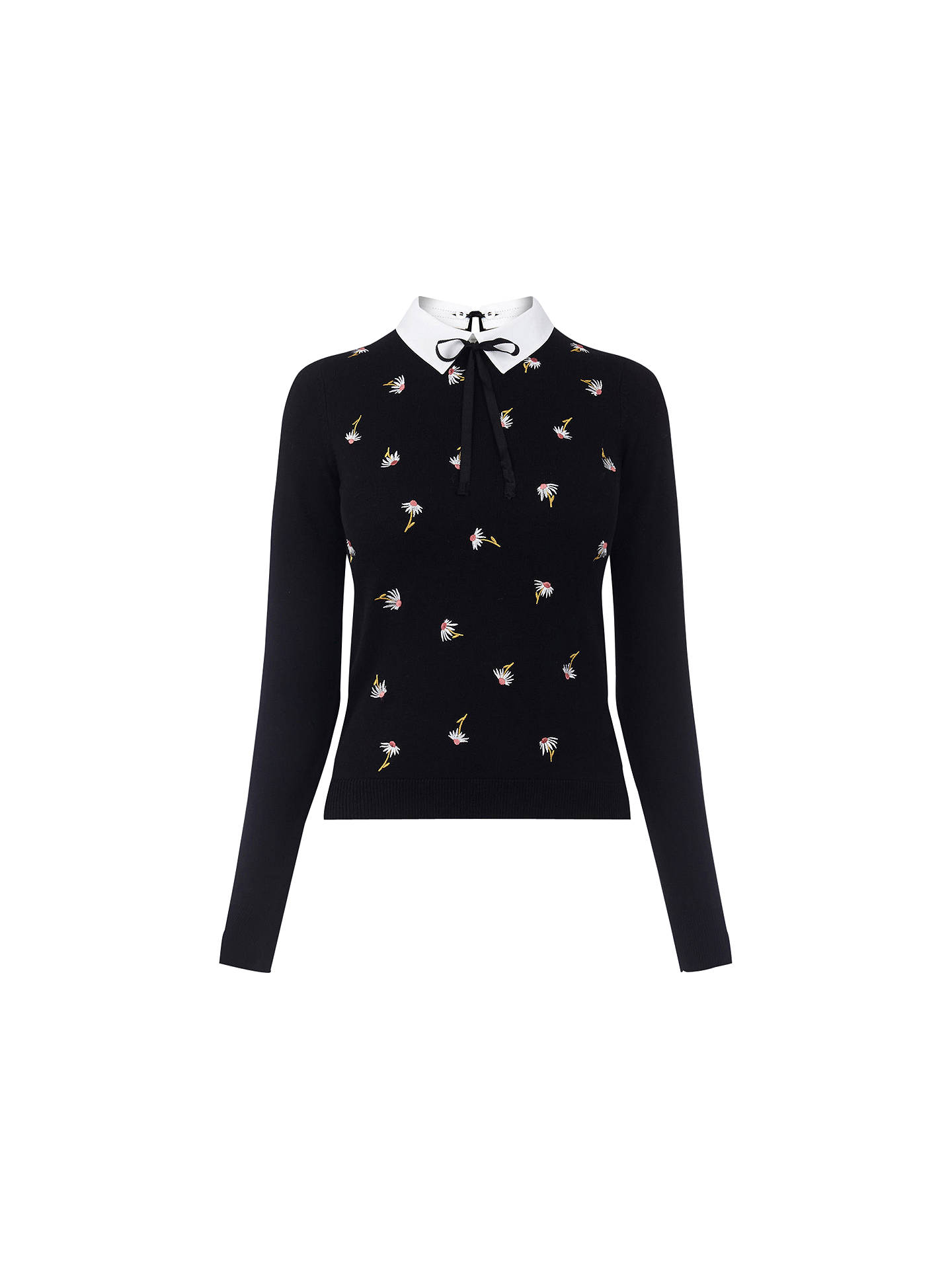 52596767154eda Buy Oasis Embroidered Collar Knit, Black, XS Online at johnlewis.com ...