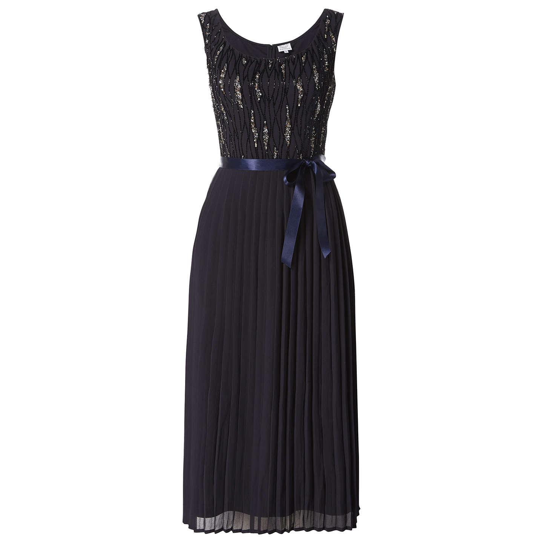 Raishma Off Shoulder Pleated Mini Dress, Charcoal at John Lewis