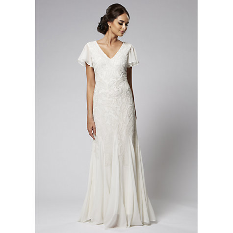 Buy Raishma Leaf Embroidered Gown, White Online at johnlewis.com