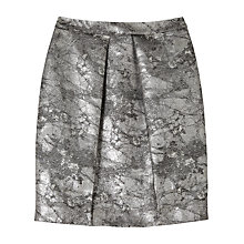 Buy Precis Petite by Jeff Banks Metallic Jacquard Skirt, Metallic Silver Online at johnlewis.com