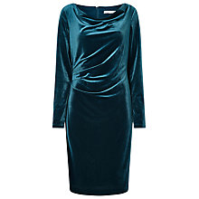 Buy Jacques Vert Velvet Cowl Dress, Dark Green Online at johnlewis.com