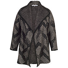Buy Chesca Crochet Trim Zig-Zag Jacquard Coat, Grey/Black Online at johnlewis.com