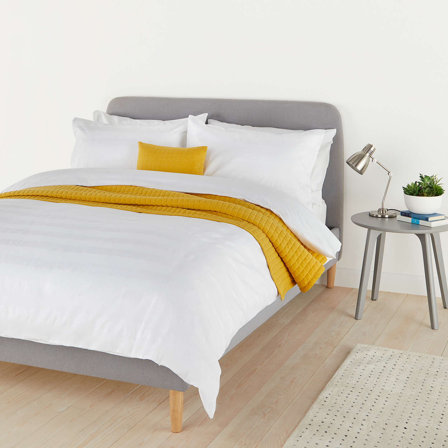 BuyHouse by John Lewis Waffle Stripe Duvet Cover and Pillowcase Set, Single, White Online at johnlewis.com