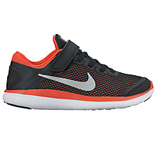 Buy Nike Children's Flex 2016 RN Trainers, Black/Max Orange Online at johnlewis.com