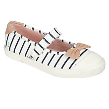 Buy John Lewis Children's Daisy Mary Jane Shoes, White/Navy Online at johnlewis.com