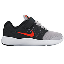Buy Nike Children's Laced Lunarstelos Trainers, Wolf Grey/Max Orange Online at johnlewis.com