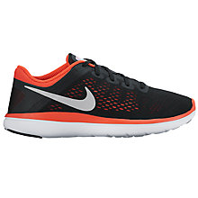 Buy Nike Children's Flex 2016 RN Running Shoes, Black/Max Orange Online at johnlewis.com