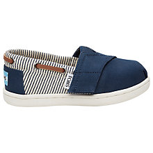 Buy TOMS Children's Bimini Striped Canvas Shoes, Navy Online at johnlewis.com