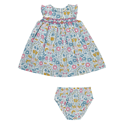 Vintage Style Children's Clothing: Girls, Boys, Baby, Toddler John Lewis Heirloom Collection Baby Smock Cotton Dress and Knickers Set GreenMulti £31.00 AT vintagedancer.com