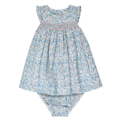 Product photo of John lewis heirloom collection baby ditsy smock dress and knickers set blue multi