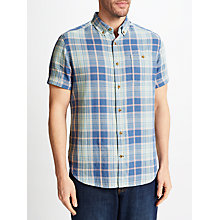 Buy John Lewis Double Face Check Short Sleeve Shirt, Blue Online at johnlewis.com