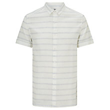 Buy Kin by John Lewis Static Stripe Cotton Linen Short Sleeve Shirt, White Online at johnlewis.com