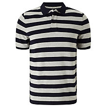 Buy John Lewis Organic Cotton Stripe Polo Shirt, Navy/Grey Online at johnlewis.com