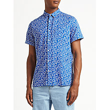 Buy Kin by John Lewis Cut Curve Linen Cotton Short Sleeve Shirt, Blue Online at johnlewis.com