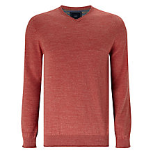 Buy John Lewis Budding Cotton V-Neck Jumper, Washed Red Online at johnlewis.com