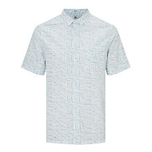 Buy Kin by John Lewis Cotton Poplin Linear Print Short Sleeve Shirt, White Online at johnlewis.com