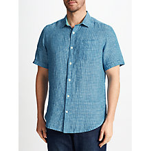 Buy John Lewis Linen Micro Check Short Sleeve Shirt Online at johnlewis.com