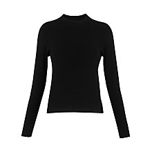 Buy Whistles Stripe Grown On Neck Knit, Black Online at johnlewis.com