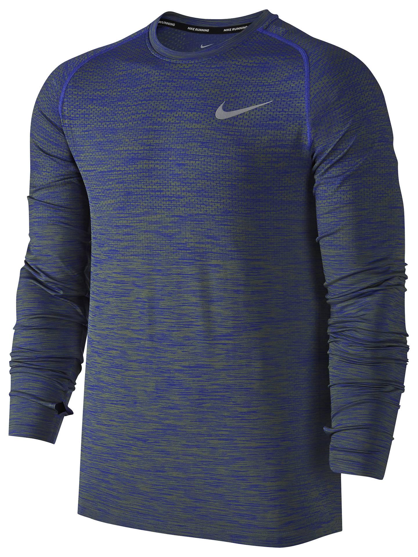 a752064cdbb6fe Buy Nike Dri-FIT Knit Long Sleeve Running Top, Paramount Blue/Palm Green ...