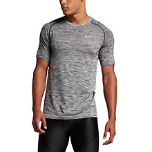 Buy Nike Dri-FIT Knit Short Sleeve Running T-Shirt, Black/Silver Online at johnlewis.com